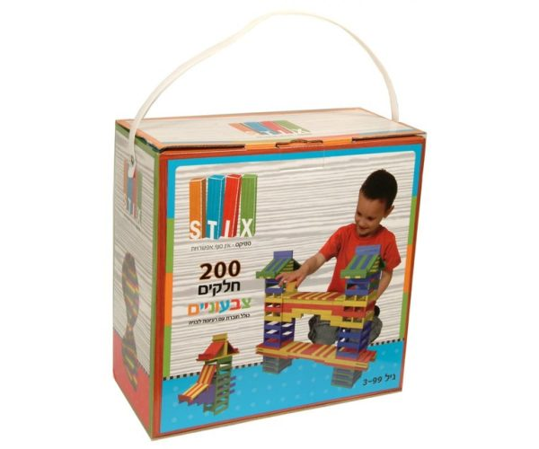 סטיקס צבעוני - משחק הרכבה לילדים - 200 חלקים