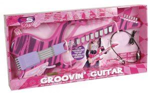 גיטרה חשמלית ורודה עם מיקרופון-אוזניות מדונה - סופרסוניקס