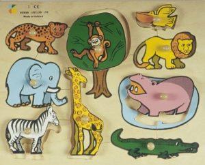 פאזל עץ לפעוטות - 9 חיות בר -דורון לילד