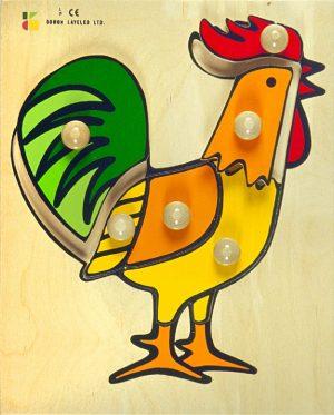 פאזל עץ - תרנגול דורון לילד