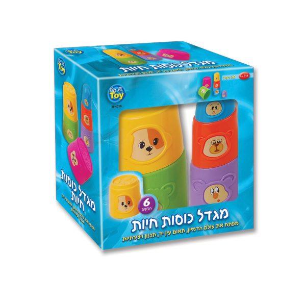 מגדל כוסות חיות 6 כוסות משחק צבעוניות לתינוקות