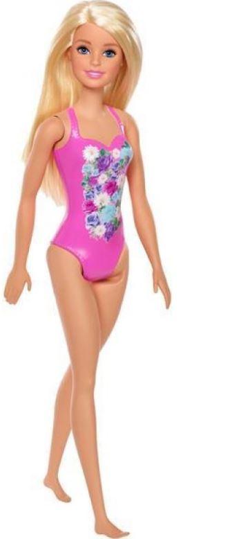 בובת ברבי עם בגד ים מלא בצבע ורוד