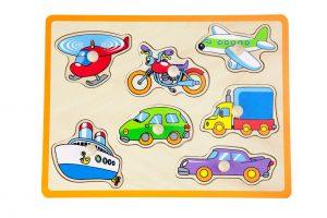 ויגה - פאזל כפתורי עץ - כלי תחבורה 2