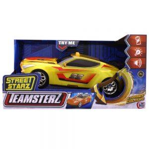 Teamsterz - מכונית מירוץ צהובה נוסעת עם אורות וקולות