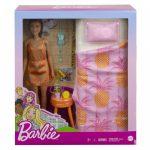 37151ברבי עם שמלה כתומה, מיטה ואביזרים