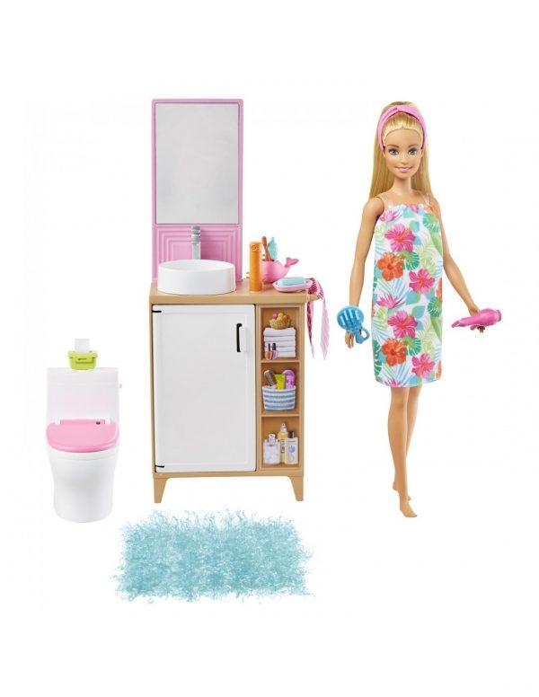 ברבי עם שמלה פרחונית ואביזרי אמבטיה