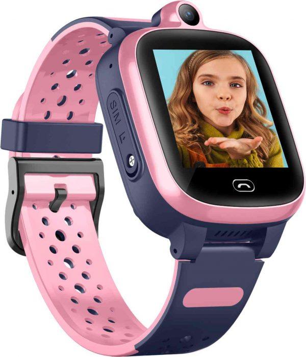 שעון GPS לילדים Kidiwatch וידאו בצבע ורוד - רשת דור 4