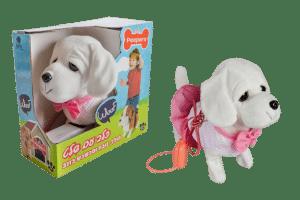 כלב עם שלט - לברדור לבן עם שמלה ורודה