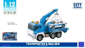 משאית גרר כחולה עם מנוף עם אורות וצלילים