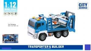 משאית גרר כחולה עם רמפה עם אורות וצלילים
