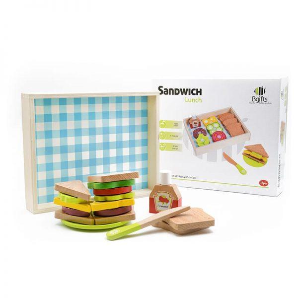 סט משחק סנדביצ'ים לצהריים מעץ