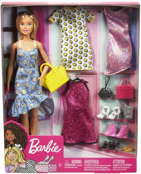 ברבי - מארז בובת ברבי עם מגוון בגדים ואביזרים