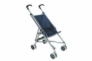 עגלת טיולון לבובה בצבע כחול נייבי עם גלגלים כחולים