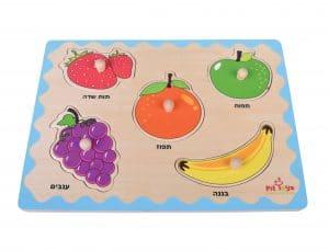 פאזל עץ - פירות 5 חלקים