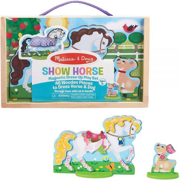 סט הלבשה מגנטי מעץ - סוס וכלב - מליסה ודאג